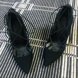 Bershka Black Suede Lace-up Stiletto Heels